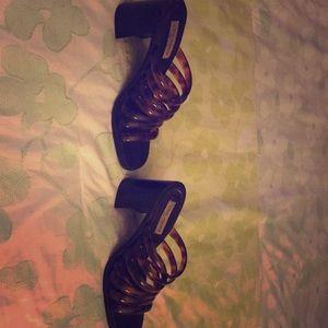 Tortoise shell strappy heels